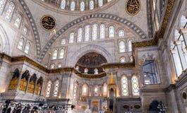 ISTAMBUL - 20 DE SETEMBRO DE 2014: Interior da mesquita azul O Mosq Imagens de Stock