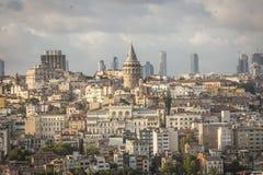 Istambul e torre de Galata Fotos de Stock Royalty Free
