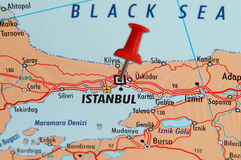 Istambul em um mapa Foto de Stock Royalty Free