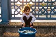 Istambul, o 15 de junho de 2017: Menina bonito que senta-se na frente de uma cubeta dos peixes na ponte de Galata Imagens de Stock Royalty Free