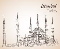 Istambul Sultan Ahmed Mosque - mesquita azul Turquia ilustração royalty free
