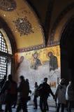 Istambul, Turquia - 22 de novembro: Fresco nas paredes do marco bizantino famoso de Hagia Sophia em Istambul, Turquia Imagens de Stock