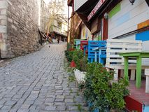 Walking around in Istambul. Istambul typical street view with a nice bar at one side Royalty Free Stock Image
