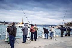 Istanboel bij de Bosphorus-boniter, blauwbaars, makreel, sardines, royalty-vrije stock foto