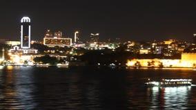 Istanboel bij nacht stock videobeelden