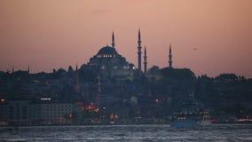 Istanboel bij schemer, Turkije Stock Afbeeldingen
