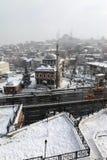 Istanboel onder Sneeuw Stock Afbeeldingen