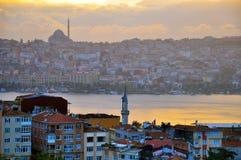 Istanboel op zonsondergang Stock Foto