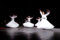 ISTANBOEL, TURKIJE - FEBRUARI 02, 2012: Wervelend mevlevidervis in verering toon Galata Istanboel Zij zijn ook gekend als het Wer Stock Fotografie