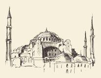 Istanboel, Turkije, Hagia Sophia, Gegraveerde Schets Royalty-vrije Stock Afbeelding
