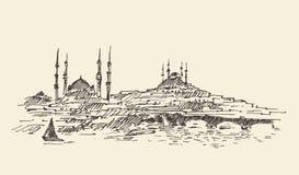 Istanboel, Turkije, Haven, Wijnoogst Gegraveerde Schets Stock Foto's