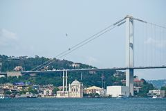ISTANBOEL, TURKIJE - MEI 24: Mening van de Bosphorus-Brug in Istanboel Stock Foto