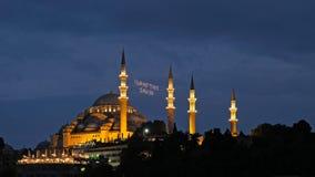 ISTANBOEL, TURKIJE - MEI 29: Nachtmening van de Suleymaniye-Moskee in Istanboel Royalty-vrije Stock Afbeelding
