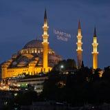 ISTANBOEL, TURKIJE - MEI 29: Nachtmening van de Suleymaniye-Moskee in Istanboel Stock Afbeelding