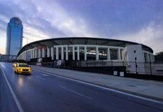 Istanbuł Besiktas, Turcja 07,/ 04 2019: Turecki drużyny futbolowej Besiktas JK stadium wieczór widok, Vodafone arena i Suzer plac fotografia royalty free