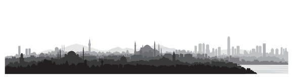 Istanbuł miasta linia horyzontu Podróży Turcja tło Turecki miastowy c ilustracji
