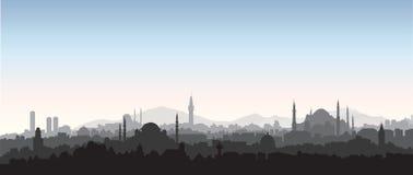 Istanbuł miasta linia horyzontu Podróży Turcja tło Turecki miastowy c ilustracja wektor