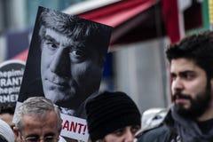 ISTANBUŁ TURCJA, JAN, - 19, 2012: Śmiertelna rocznica Hrant Dink fotografia stock
