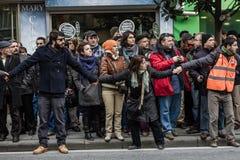 ISTANBUŁ TURCJA, JAN, - 19, 2012: Śmiertelna rocznica Hrant Dink zdjęcia stock
