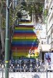 ISTANBUŁ TURCJA, MAJ, - 11, 2015: Fotografia Najwięcej barwionego schody w Istanbuł Zdjęcia Royalty Free