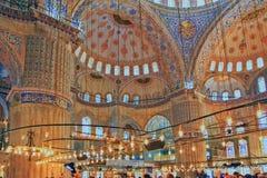ISTANBUŁ TURCJA, MARZEC, - 24, 2012: Wnętrze Błękitny meczet Obrazy Royalty Free