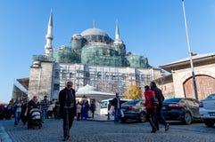 Istanbuł Turcja, Styczeń, - 06, 2018: Eminonu Valide Nowy Meczetowy sułtan Camii w budowie, Istanbuł, Turcja Obrazy Stock
