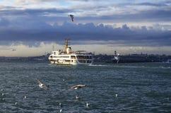 Istanbuł seagulls i promy Zdjęcia Stock