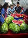 Istanbuł ulicy arbuza pokrojony sprzedawca Zdjęcia Royalty Free