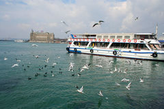 Istanbul. A view to Istanbul- Turkiye. Boat and haydarpasa station and seagulls Royalty Free Stock Images