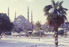 Istanbul. Blue Mosque covered with snow in Istanbul, Turkey stock photography