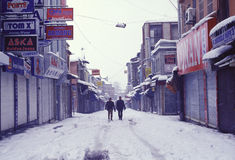 Istanbul. Two man walking in the street during the winter in Istanbul, Turkey stock photos