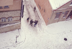 Istanbul. People walking in a snowy street in Istanbul shoot from above stock images