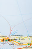 Istanbul. City on a road map Stock Images