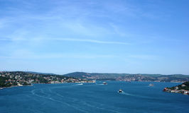 Istanbul. Through the magnificent scenery of the Bosphorus Bridge Istanbul royalty free stock photography