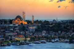 Istanbul Aerial with Blue Mosque and Hagia Sophia stock photos