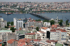 Istanbul aerial view. With Galata Bridge over Bosphorus stock photos