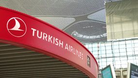 Istanbul Airport Turkish Airlines SLOW MOTION. Istanbul, Turkey - May 7, 2019: SLOW MOTION of Turkish Airlines assistance kiosk and people on escalators in stock video footage
