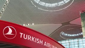 Istanbul Airport Turkish Airlines SLOW MOTION. Istanbul, Turkey - May 7, 2019: SLOW MOTION of Turkish Airlines sign of new Istanbul International Airport stock video