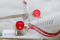 Istanbul Airshow. ISTANBUL, TURKEY - SEPTEMBER 27, 2014: Dassault Falcon 7X in Istanbul Airshow which held in Ataturk Airport royalty free stock photo