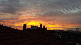 Istanbul is also a beautiful sunset over the roof. Came and went in blue red and yellow dominance stock image