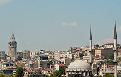 Istanbul, ancient and modern. Mosque and skyline, Istanbul. showing dome and minarets against a blue sky Stock Photo