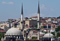 Istanbul, ancient and modern. Mosque and skyline, Istanbul. showing dome and minarets against a blue sky Stock Images