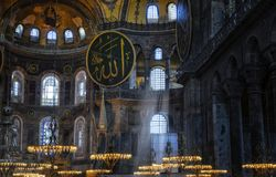 ISTANBUL - April 30: Interior architecture of the Hagia Sophia o. N April 30,2018, Istanbul, Turkey. Hagia Sophia is the greatest monument of Byzantine Culture stock images