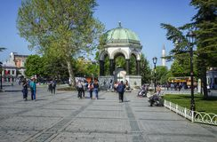 ISTANBUL - APRIL 30: Tourists visit German Fountain on April 30, 2018 in Istanbul, Turkey. It was constructed to commemorate Germ royalty free stock photography