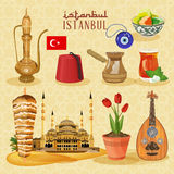 Istanbul arabic Set. Arabic life set with Turkish household and religious objects Royalty Free Stock Image