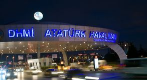 Istanbul Atatürk Airport - entrance in night Stock Images