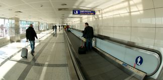 Istanbul Atatürk Airport - moving walkway Royalty Free Stock Image