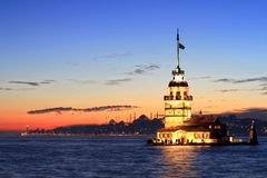 Istanbul auf Sonne unten Lizenzfreies Stockfoto