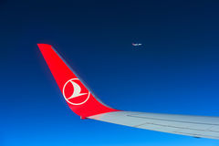 ISTANBUL - August 27: Airbus A-321 wing and wingtip device durin Royalty Free Stock Photo
