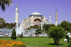 Istanbul Aya-Sofia. Church Aya-Sofia and a garden with a fountain in Istanbul Stock Photo